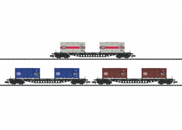 "Minitrix 15961 Güterwagen-Set ""Containertransport"" Sgs 693"