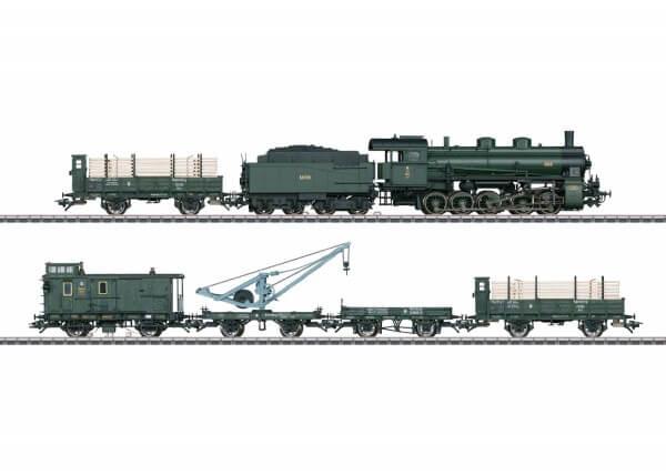 """Märklin 26603 Zugpackung """"Bayerischer Güterzug"""" mit G 5/5 mit Kranwagen Würzburg"""