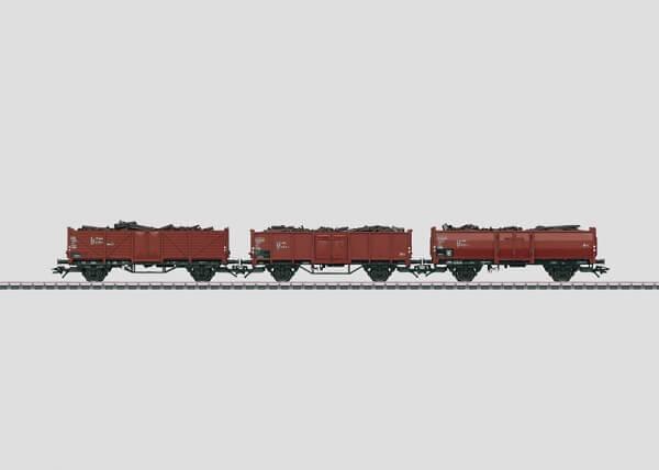 Märklin 46098 3 unterschiedliche offene Güterwagen mit Schrott beladen
