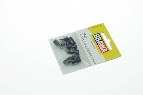 BRAWA 3048 Muffen rund, 2,5 mm schwarz