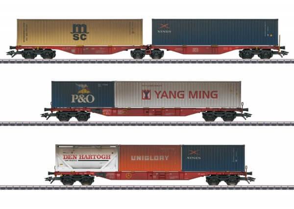 Märklin 47810 Container-Tragwagen-Set mit Alterungsspuren