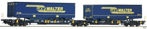 FLEISCHMANN 825001 Doppeltaschen-Gelenkwagen T2000 der WASCOSA beladen mit LKW WALTER Aufliegern