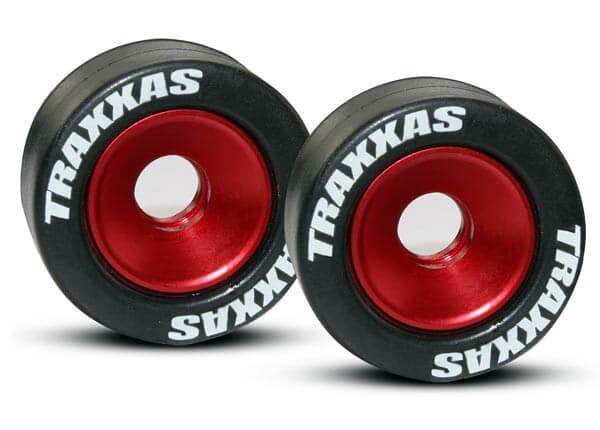 TRAXXAS® 5186 Gummibereifte, kugelgelagerte, Aluräder für Wheelie Bar rot