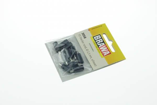 BRAWA 3058 Querlochstecker rund, 2,5 mm schwarz