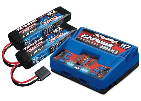 TRAXXAS® 2991G EZ-Peak DUAL 8-amp mit iD™ + 2 Stück LiPo POWER CELL 7600 mAh 2S
