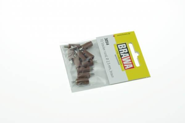 BRAWA 3054 Querlochstecker rund, 2,5 mm braun