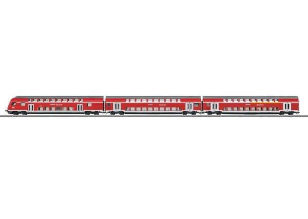 """Märklin 43570 Doppelstockwagen-Set """"Regio DB"""" mit Innenbeleuchtung und Steuerwagen"""