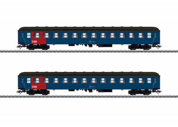Märklin 42695 H0 zwei Reisezugwagen Bcm, 2. Klasse der DSB