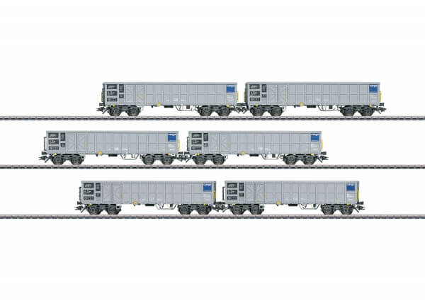 Märklin 46912 6 offene Hochbordwagen der Bauart Fas SBB Cargo