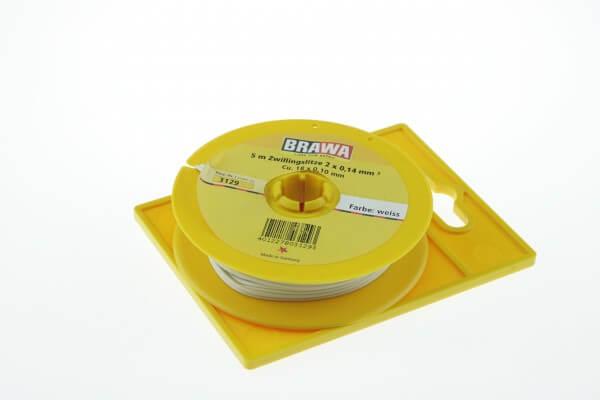 BRAWA 3129 Doppellitze 0,14 mm², 5-m-Ring weiss