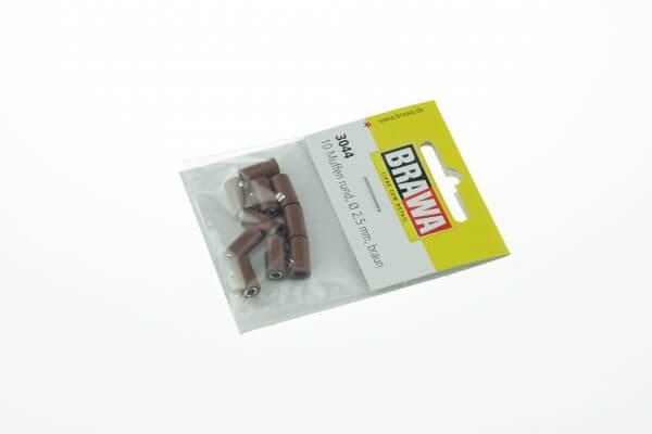 BRAWA 3044 Muffen rund, 2,5 mm braun